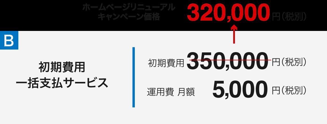 ホームページリニューアル キャンペーン価格320,000円(税別)初期費用 一括支払サービス